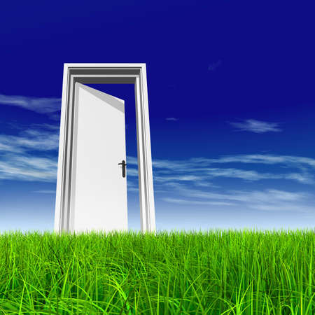 Green, fresh and natural 3d conceptual grass over a blue sky background, a opened door at horizon ideal for religion, home, recreation, faith, business, success, opportunity or future Banco de Imagens - 156190627