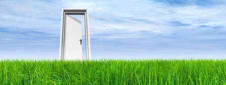 Green, fresh and natural 3d conceptual grass over a blue sky background, a opened door at horizon ideal for religion, home, recreation, faith, business, success, opportunity or future Banco de Imagens - 156190629