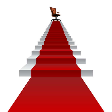 Concept conceptual 3d red carpet stair climbing to leader,chief or promotion chair on top isolated white background, for career, business, success, achievement, winner, goal, step or victory