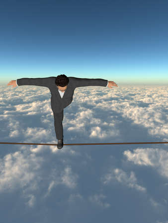 Conceptual concept of 3D businessman or man silhouette in crisis walking in balance on rope over sunset sky background for business, danger, risk, risky, finance, fall, equilibrium, hazard or success Banco de Imagens - 156190633