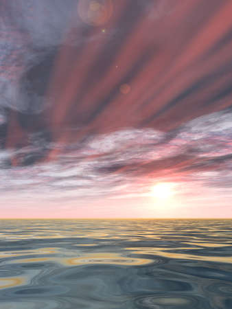 Concept or conceptual beautiful seascape with water and waves and a sky with clouds at sunset as a metaphor for nature, romantic, dramatic, light, evening, peace, atmosphere or weather