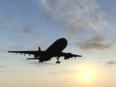Concept or conceptual black plane, airplane or aircraft silhouette flying over sky at sunset or sunrise background, metaphor to air ,travel, transportation, jet, flight, transport, business, vacation, Standard-Bild