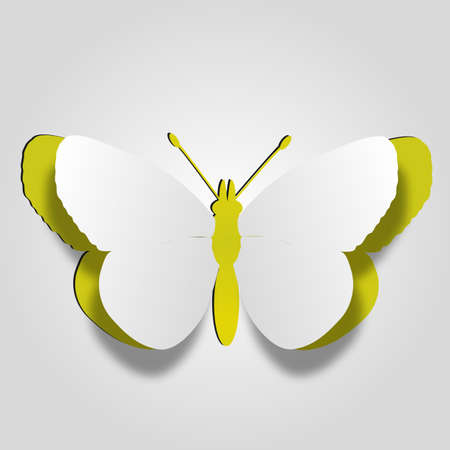 3D abstract concept or conceptual white paper with yellow background butterfly shape symbol, metaphor to spring, summer, art, beauty, education, elegance, paperwork, card, creative or sticker