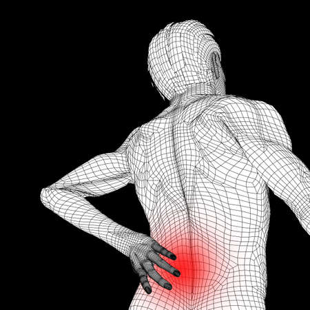 Concept or conceptual 3d human male or man anatomy isolated on black background as metaphor to pain, back, body, spine, backache, medical, injury, medicine, health, hurt, painful, spinal  therapy