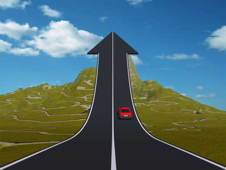 Concept or conceptual 3D red car on arrow road pointing up, upward over a mountain to sky background metaphor to success, business, future,transportation,progress,increase,growth,goal,top or challenge Standard-Bild