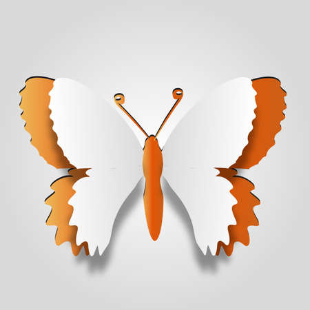 3D abstract concept or conceptual white paper with orange background butterfly shape symbol, metaphor to spring, summer, art, beauty, education, elegance, paperwork, card, creative or sticker