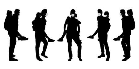 Vector concept conceptual  silhouette men spending time with children while social distancing as means of prevention and protection against coronavirus contamination. A metaphor for the new normal. Banco de Imagens - 156190642