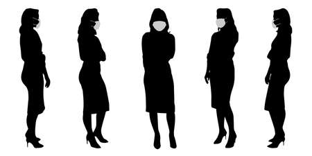 Vector concept conceptual  silhouette women taking while social distancing as means of prevention and protection against coronavirus contamination. A metaphor for the new normal. Banco de Imagens - 156190650
