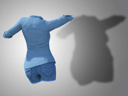 Conceptual fat overweight obese shadow female jeans shirt vs slim fit healthy body after weight loss or diet thin young woman on gray. Fitness, nutrition or obesity health shape 3D illustration Banco de Imagens - 155307913