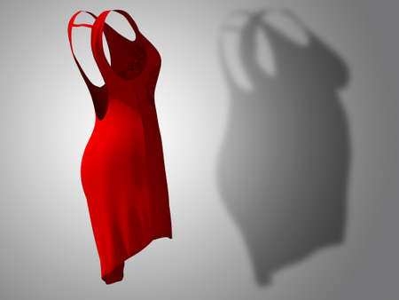 Conceptual fat overweight obese shadow female dress outfit vs slim fit healthy body after weight loss or diet thin young woman on red. A fitness, nutrition or obesity health shape 3D illustration Banco de Imagens - 155307539