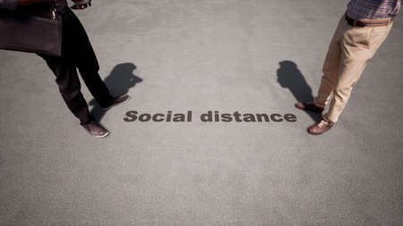 Concept or conceptual 3d illustration of two men meeting following social distance guidelines on a wooden floor background. A metaphor for the change in company relations during the lockdown Banco de Imagens - 156191300