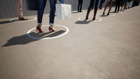Concept or conceptual 3d illustration of people standing in line, social distancing as means of prevention or protection against coronavirus contamination. A change in lifestyle metaphor on lockdown