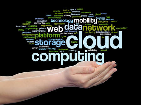 Concept conceptual web cloud computing technology abstract wordcloud in hand isolated on background, metaphor to communication, business, storage, service, internet, virtual, online, mobility hosting Banco de Imagens - 155343575