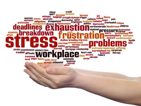 Concept conceptual mental stress at workplace or job abstract word cloud in hand isolated on background, metaphor to health, work, depression, problem, exhaustion, breakdown, deadlines, risk, pressure