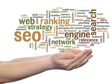 Concept or conceptual search engine optimization, seo abstract word cloud in hand isolated on background, metaphor to marketing, web, internet, strategy, online, rank, result,  network, top, relevance Banco de Imagens - 156191454