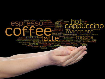 Concept conceptual creative hot coffee, cappuccino or espresso abstract word cloud in hand isolated on background metaphor to morning, restaurant, italian, beverage, cafeteria, break, energy or taste Standard-Bild