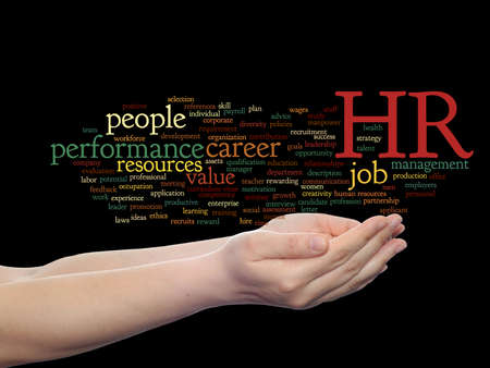 Concept conceptual hr or human resources management abstract word cloud in hand isolated on background, metaphor to workplace, development, career, success, hiring, competence, goal, corporate or job Banco de Imagens - 156191458