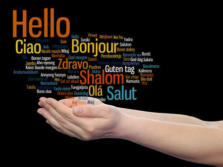 Concept or conceptual abstract hello or greeting international word cloud on hands in different languages or multilingual, metaphor to world, foreign, worldwide, travel, translate, vacation or tourism Banco de Imagens - 156191459