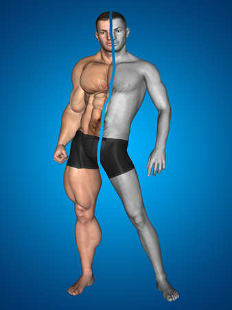 Concept or conceptual 3D strong young male man bodybuilder before and after on blue background metaphor weight loss, body, fitness, fatness, obesity, health, healthy, male, dieting, shape Banco de Imagens - 155960086
