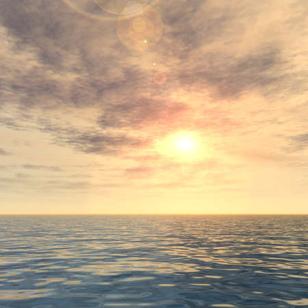 3d illustration of concept or conceptual sunset or sunrise background with the sun close to horizon and sea or ocean metaphor to nature, peace, summer, travel, tropical, tourism, environment, vacation Banco de Imagens