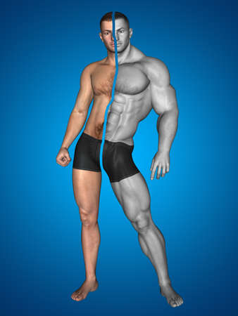 Concept or conceptual 3D strong young male man bodybuilder before and after on blue background metaphor weight loss, body, fitness, fatness, obesity, health, healthy, male, dieting, shape Banco de Imagens - 155960190