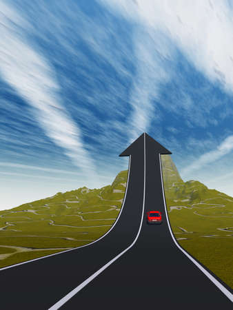 Concept or conceptual 3D red car on arrow road pointing up, upward over a mountain to sky background