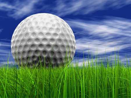 Green, fresh and natural 3d conceptual grass over a blue sky background with a golf ball at horizon ideal for club, sport, business, recreation, summer, competition, competition, game or fun design