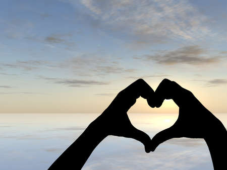 Concept or conceptual heart shape or symbol made of human or woman and man hand silhouette over a sky and sea at sunset background metaphor to love, valentine, romantic, couple, wedding, romance, summ Banco de Imagens - 155960276