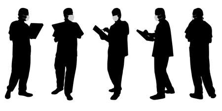 Vector concept conceptual silhouette men working while social distancing as means of prevention and protection against coronavirus contamination. A metaphor for the new normal.