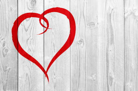Concept or conceptual painted red abstract heart shape love symbol made by happy child at school, old vintage wood background, metaphor to valentine, romantic, education, romance, happy, art feeling Banco de Imagens - 156326308