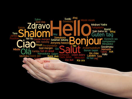 Concept or conceptual abstract hello or greeting international word cloud on hands in different languages or multilingual, metaphor to world, foreign, worldwide, travel, translate, vacation or tourism Banco de Imagens - 156326309