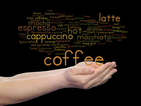 Concept conceptual creative hot coffee, cappuccino or espresso abstract word cloud in hand isolated on background metaphor to morning, restaurant, italian, beverage, cafeteria, break, energy or taste Banco de Imagens - 156326311