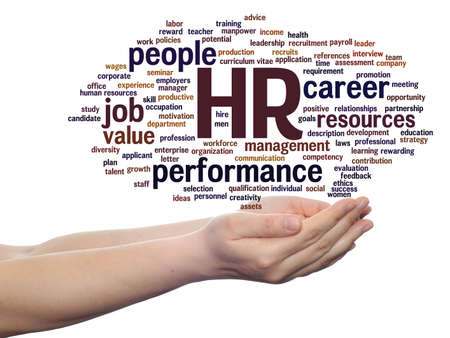 Concept conceptual hr or human resources management abstract word cloud in hand isolated on background, metaphor to workplace, development, career, success, hiring, competence, goal, corporate or job Banco de Imagens