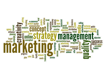 Concept or conceptual development business marketing target word cloud isolated background. Collage of advertising, strategy, promotion branding, value, performance planning or challenge text