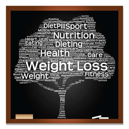 Concept or conceptual green blackboard text word cloud or tagcloud tree isolated background, metaphor to health, nutrition, diet, healthy, wellness, body, energy, medical, sport, heart, science