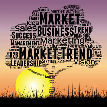 Concept or conceptual black tree and grass word cloud sunset sky and sun background, metaphor to business, trend, media, focus, market, value, product, advertising or customer or corporate Standard-Bild