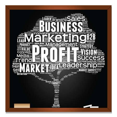 Concept or conceptual white tree word cloud or wordcloud on black blackboard background, metaphor to business, trend, media, focus, market, value, product, advertising, leadership or customer