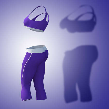 Conceptual fat overweight obese shadow female pants and bra vs slim fit healthy body after weight loss or diet thin young woman on purple. A fitness, nutrition or obesity health shape 3D illustration
