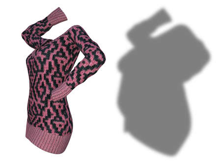 Conceptual fat overweight obese shadow female sweater dress vs slim fit healthy body after weight loss or diet thin young woman isolated. A fitness, nutrition or obesity health shape 3D illustration Standard-Bild
