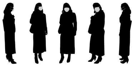 Vector concept conceptual  silhouette women working while social distancing as means of prevention and protection against coronavirus contamination. A metaphor for the new normal. Illustration