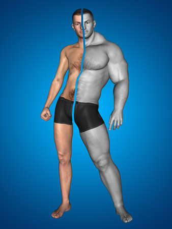 3D illustration of a concept strong young male man bodybuilder vs underweight thin on blue background for sport, athlete, fitness, health, fit, sexy, strength, power, attractive, bodybuilding gym diet 免版税图像 - 157888927