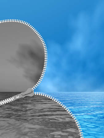 3D illustration concept 3D abstract zipper, dramatic dark cloudy sky and sea to sunny summer blue sky with clouds background for change, success, development, vision, idea, fear, heaven, faith