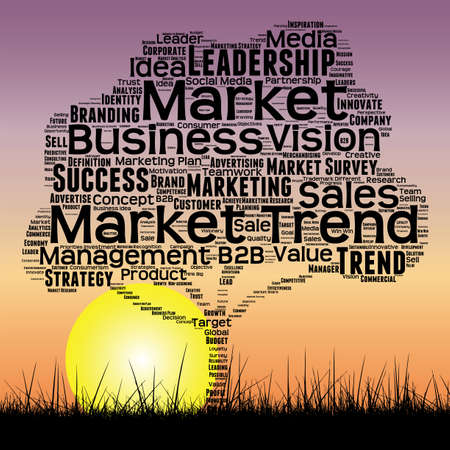 Concept or conceptual black tree and grass word cloud sunset sky and sun background, metaphor to business, trend, media, focus, market, value, product, advertising or customer or corporate
