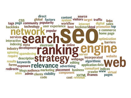 Concept or conceptual search engine optimization, seo abstract word cloud isolated on background, metaphor to marketing, web, internet, strategy, online, rank, result, network, top, relevance