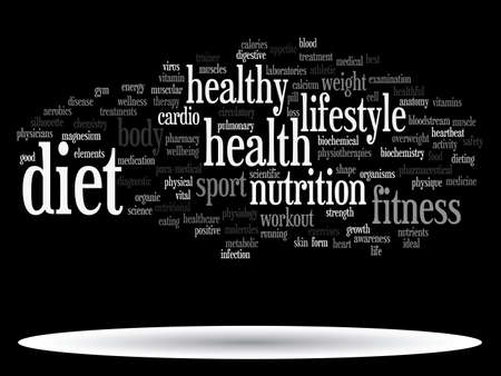 Concept or conceptual abstract word cloud on black background as metaphor for health, nutrition, diet, wellness, body, energy, medical, fitness, medical, gym, medicine, sport, heart or science Banque d'images