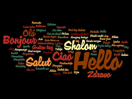 Concept or conceptual abstract hello or greeting international word cloud in different languages or multilingual, metaphor to world, foreign, worldwide, travel, translate, vacation or tourism