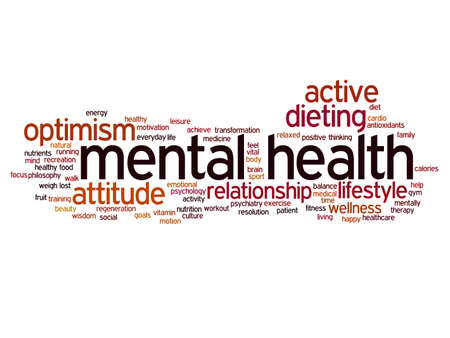 Concept or conceptual mental health or positive thinking abstract word cloud isolated on background, metaphor to optimism, psychology, mind, healthcare, thinking, attitude, balnce or motivation Banco de Imagens