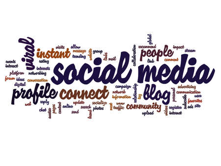 Concept or conceptual social media marketing or communication abstract word cloud isolated on background, metaphor to networking, community, technology, advertising, global, worldwide tagcloud