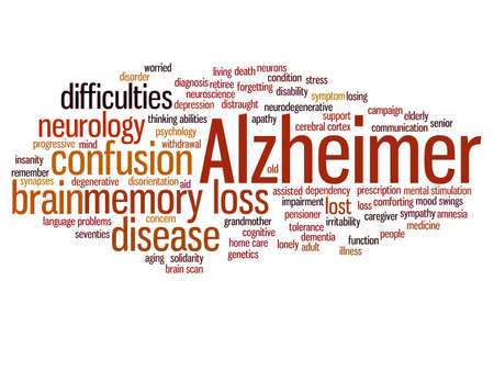Concept conceptual Alzheimer`s disease symtoms abstract word cloud isolated on background metaphor to care, loss, caregiving, aging, resistance, neurology, old, language, motor or resistance Banco de Imagens - 159527322