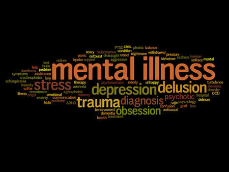 Concept conceptual mental illness disorder management or therapy abstract word cloud isolated on background metaphor to health, trauma, psychology, help, problem, treatment or rehabilitation Banco de Imagens - 159527323
